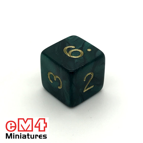 Pearl Green D6 Poly dice