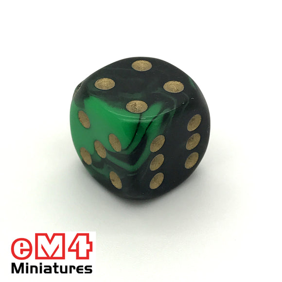 15mm D6 Oblivion Spot Dice - Green x 10
