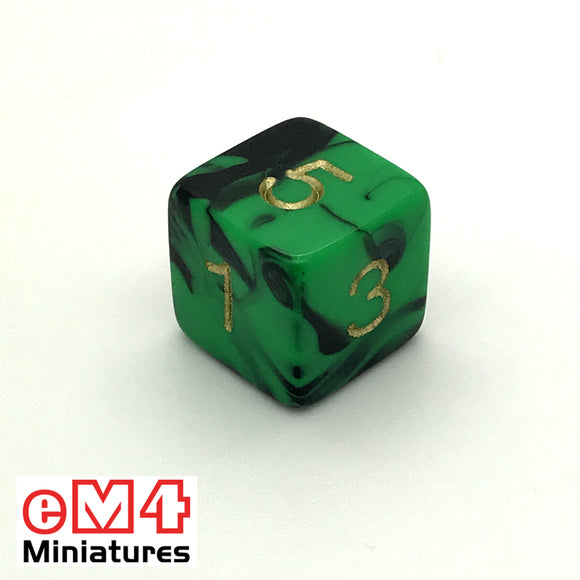 Oblivion Green D6 Poly Dice
