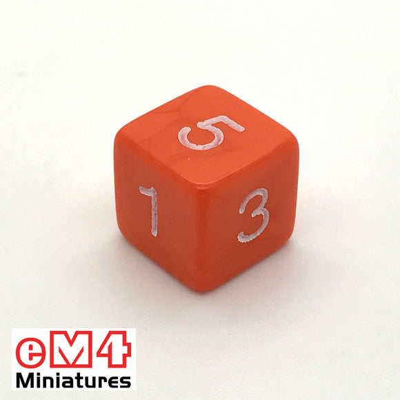 Opaque Orange D6 Poly Dice