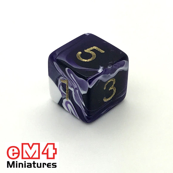 Marble Purple D6 Poly Dice