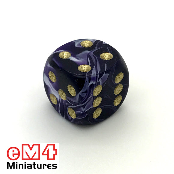 15mm D6 Purple Marble Spot Dice x 10