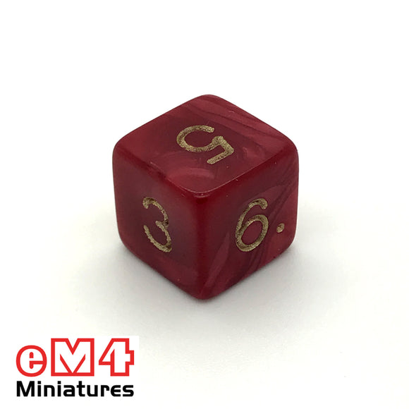 Pearl ,red D6 Poly Dice