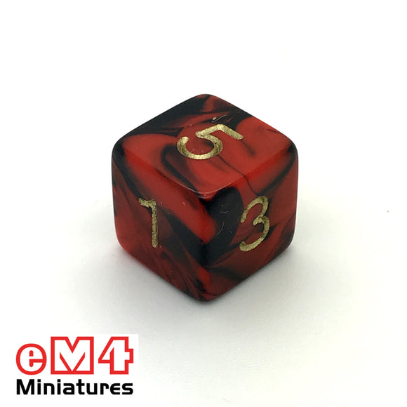 Oblivion Red D6 Poly Dice