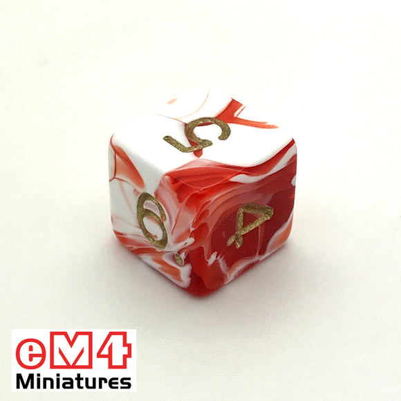 Marble Red D6 Poly Dice