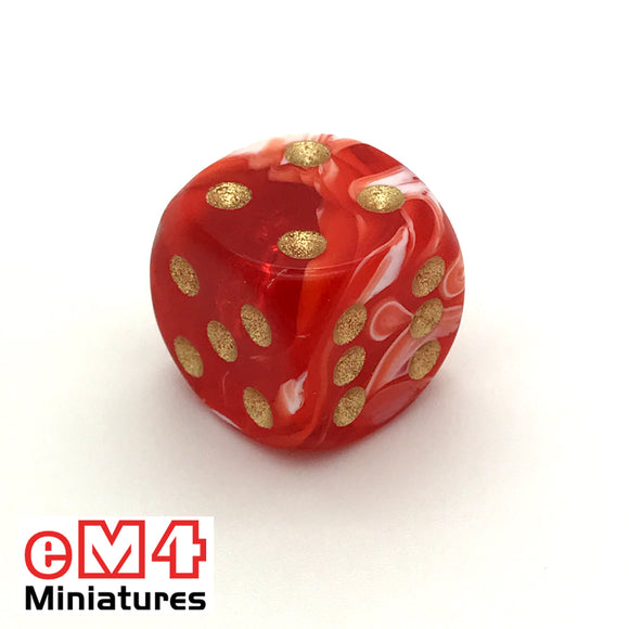 15mm D6 Red Marble Spot Dice x 10
