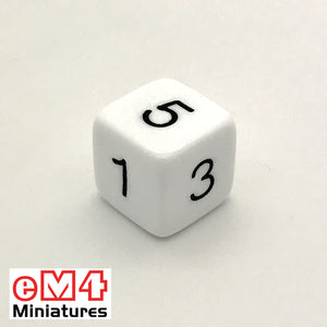 Opaque White D6 Poly Dice