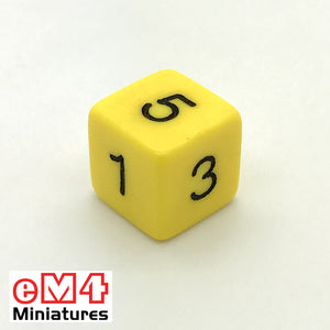 Opaque Yellow D6 Poly Dice