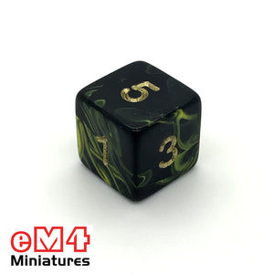 Oblivion Yellow D6 Poly Dice