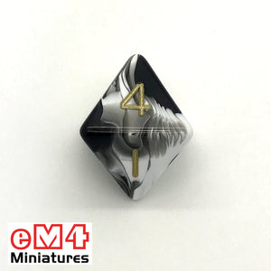 Marble Black D8 Poly Dice