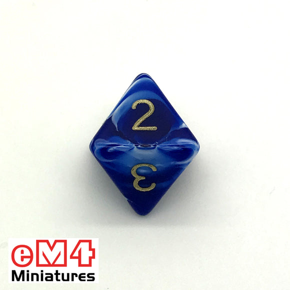 Marble Blue D8 Poly Dice