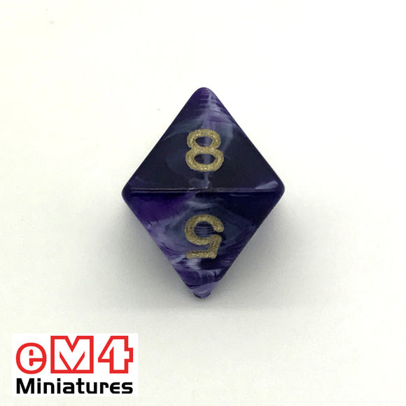 Marble Purple D8 Poly Dice