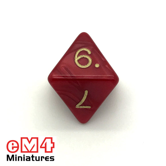 Pearl Red D8 Poly Dice