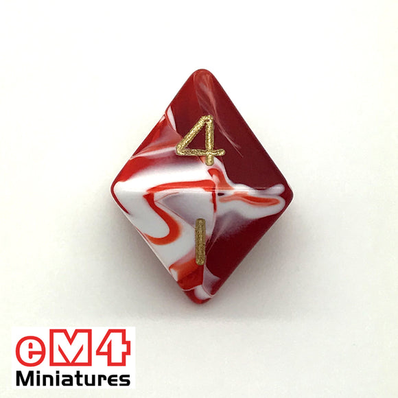 Marble Red D8 Poly Dice