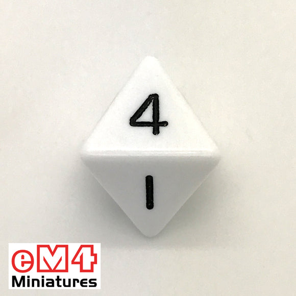 Opaque White D8 Poly Dice