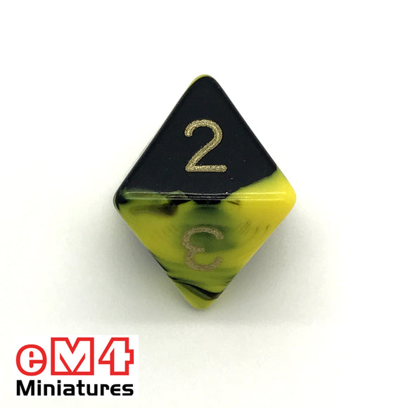 Oblivion Yellow D8 Poly Dice