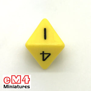 Opaque Yellow D8 Poly Dice