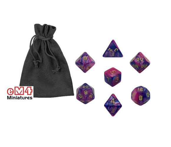 Poly RPG Dice with Bag - Multiple Colours