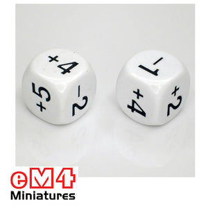 22mm white opaque dice marked -1,+2,-2,+4,+3,+5 bag of 5
