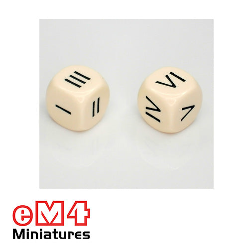 16mm white opaque Roman Numeral dice marked I, II, III, IV, V, VI bag of 5