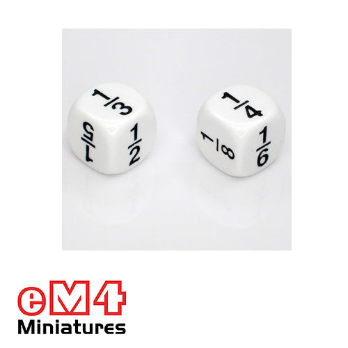 16mm white opaque fraction dice marked 1/2, 1/3, 1/4, 1/5, 1/6, 1/8 bag of 5