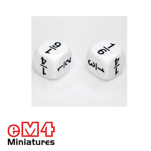 16mm white opaque Fraction dice marked 1/2, 1/3, 1/6. 1/6. 1/4, 1/4 bag of 5