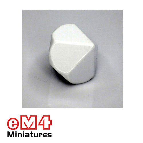 10 sided (D10) white blank Jumbo polydice x 1
