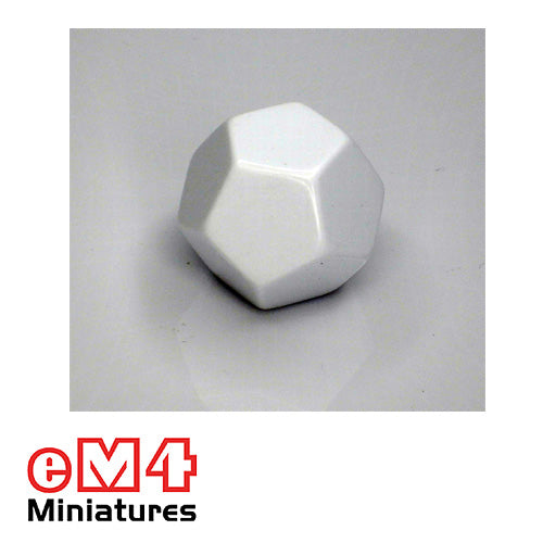 12 sided (D12) Blank white opaque Jumbo polydice x 1