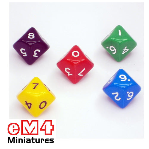 10 sided (D10) opaque polydice 0-9 bag of 5