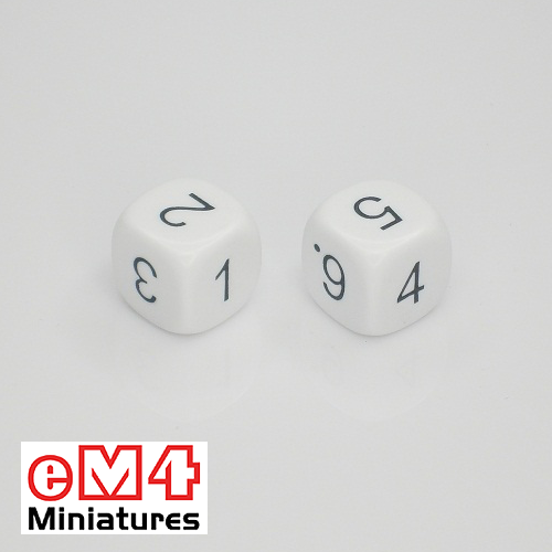 14mm white opaque dice marked 1.2.3.4.5.6 bag of 5