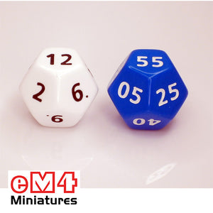 12 sided Time dice x 2 Marked 1-12 and 0-55