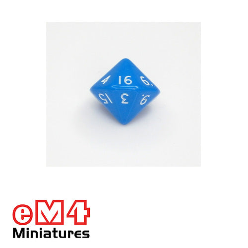 16 sided dice (D16) opaque polydice 1-16 bag of 5