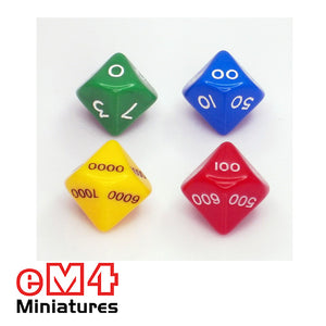 Set of 8 x10 sided Place Value Dice 2 x units, 2 x 10's, 2 x 100's, 2 x 1000's