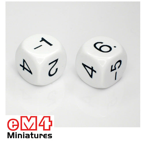 22mm white negative odd numbers -1,2,-3,4,-5,6