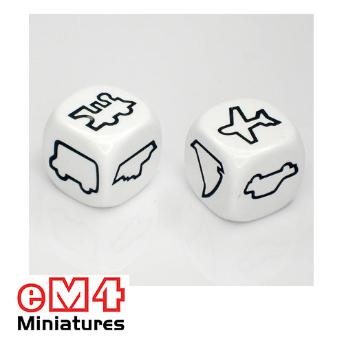 22mm Transport dice white set of 6 - Truck, car, train, aeroplane, ship, sailboat