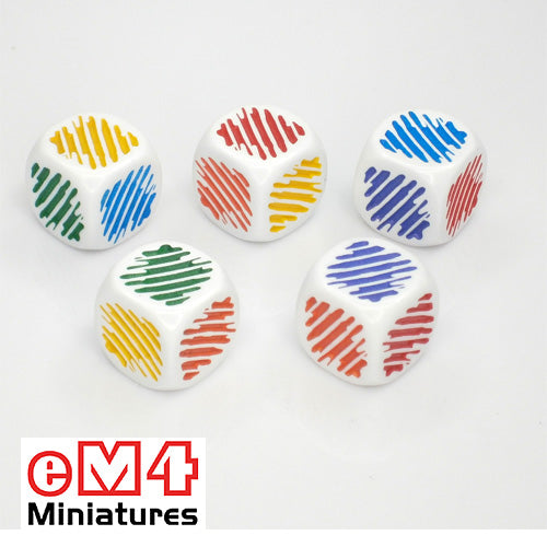 18mm colour dice ( colour flash) pack of 5- red,yellow, green, blue, orange, purple.
