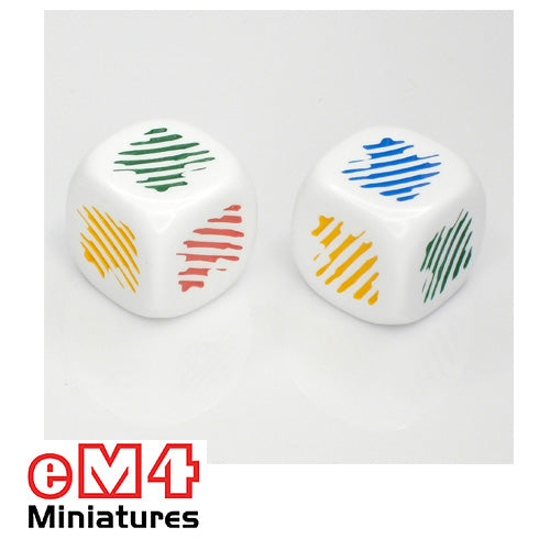 22mm colour dice (colour flash) white bag of 5 - red, yellow, green, blue, orange, purple