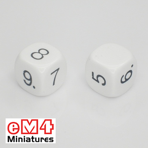 16mm white opaque dice marked 5.6.7.8.9.blank