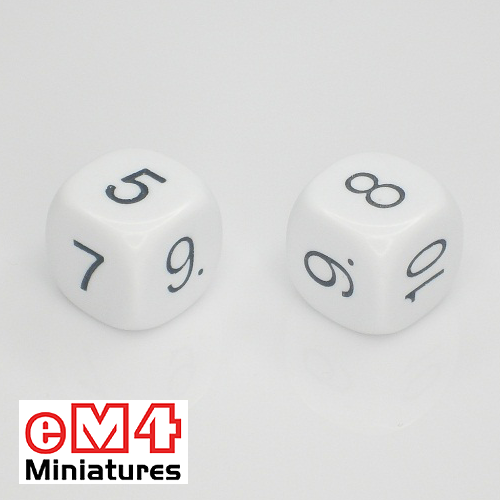 16mm white opaque dice marked 5.6.7.8.9.10 bag of 5