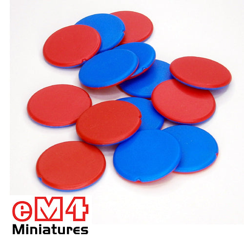 Two colour counters- Pack of 25 x 25mm counters one side red the other side blue