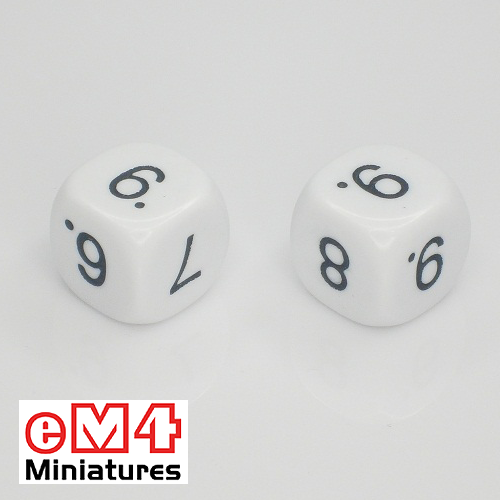 16mm white opaque dice marked 6.6.7.8.9.9 bag of 5