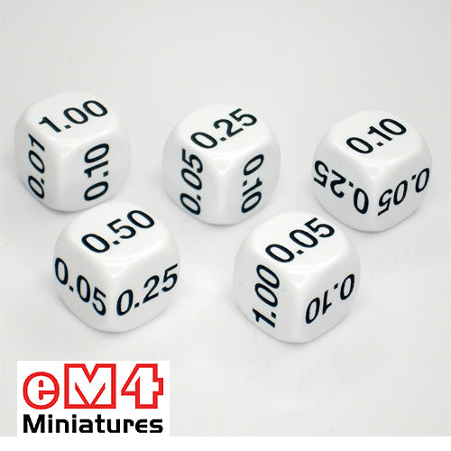 22mm decimal dice - .01 .05 .10 .25 .50 1 bag of 5