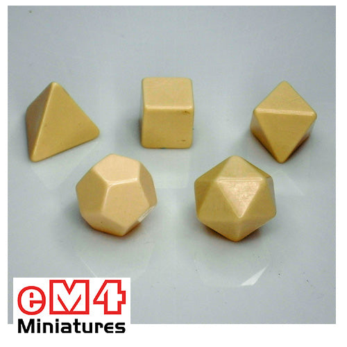 Blank polyhedral dice set of 6 - 4, 6, 8, 10, 12 and 20 sided