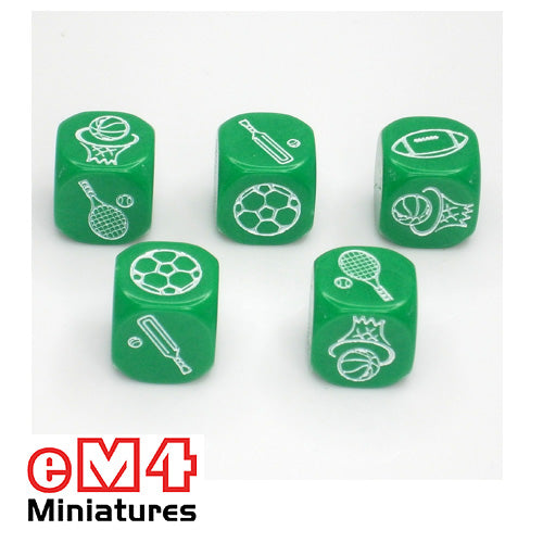 18mm sports dice - bag of 5