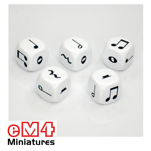 16mm music dice - bag of 5