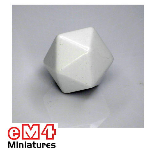 20 sided (D20) white opaque blank Jumbo polydice x 1