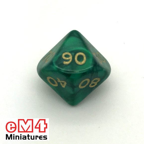 Pearl Green D10 (00-90) Poly Dice