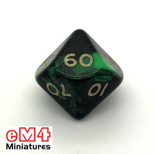 Oblivion Green D10 (00-90) Poly Dice