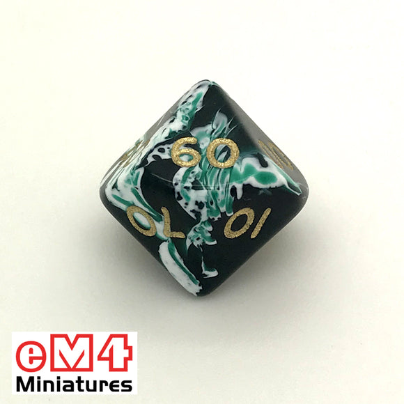 Marble Green D10 (00-90) Poly Dice
