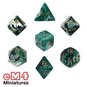 Marble Green 7 Dice Poly Set